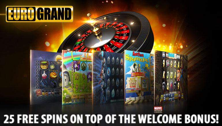 Osvojite 25 besplatnih spinova povrh vašeg bonusa dobrodošlice u EuroGrand Casino